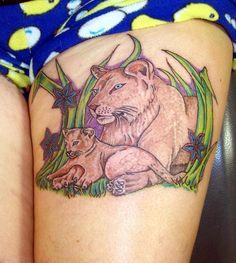 lioness with a cub Lioness And Cub Tattoo, Lioness And Cubs, Cherry Tattoos, Flower Tattoos, Hand Tattoos, Lion Tattoo Design, Best Tattoo Designs, Cubs Tattoo, Animal Tattoos