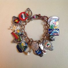 Hawaii Charm Bracelet made from travel spoon and souvenir pins