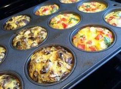 Breakfast Egg Muffins To Go (low carb)  These egg muffins are designed to be cooked ahead of time, then grabbed on the go. Egg muffins will keep one week in the refrigerator. Microwave 30 seconds to reheat.  Yield - 12 muffins 1/2 pound ground Italian pork or turkey sausage 4 ounces frozen chopped broccoli florets 1/2 cup shredded cheddar cheese 12 eggs 1/2 teaspoon salt 1/4 teaspoon pepper 12 parchment paper muffin wrappers or 12 silicone muffin cups