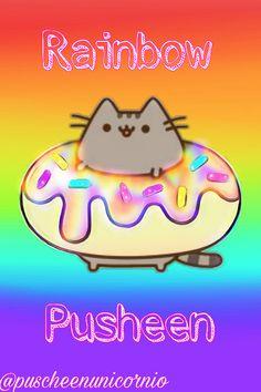freetoedit pusheen rainbow