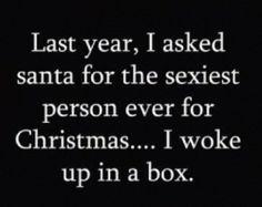 """""""El año pasado, le pedí a Santa que me traiga para Navidad la persona mas sexy… Me desperté en una caja."""""""