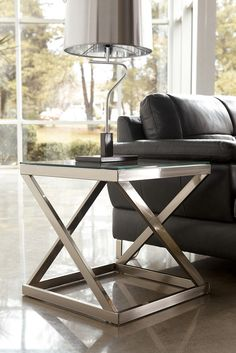 BRUSHED NICKEL COLOR MODERN SQUARE END TABLE COFFEE GLASS LIVING ROOM FURNITURE #BRANDNEWINBOX #Modern