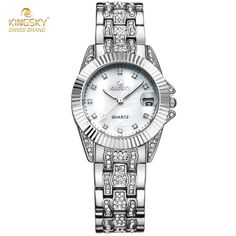 26.20$  Buy here - http://aie9v.worlditems.win/all/product.php?id=32790613076 -  Luxury Diamond Watches Ladies Gold & Silver Watch Time Hour Fashion Crystal Dress Quartz Watch Ladies Relogio Feminino