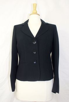 Kasper Black Blazer with buttons and pockets and Size 6 #Kasper #Blazer