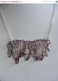 ON SALE Illustrated Crystal Cluster Sterling Silver Necklace. $28.00, via Etsy.