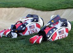 Team USA golf bags at the 2013 President's Cup. For Procella: http://www.procellaumbrella.com/