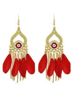 Vintage Feather Water Drop Earrings #jewelry, #women, #men, #hats, #watches, #belts