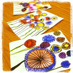 "Watercolours & sharpies were used to create these beautiful flowers ("",)"