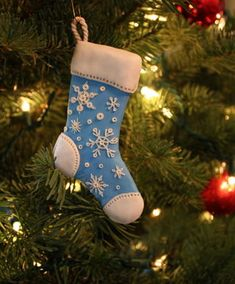 The Striped Stocking is So Adorable—Christmas Ornaments—Made from Sculpey Clay