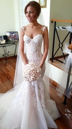 Tulle Spaghetti-Strap Sleeveless Applique Long Mermaid Wedding Dresses_High Quality Wedding Dresses, Prom Dresses, Evening Dresses, Bridesmaid Dresses, Homecoming Dress - 27DRESS.COM