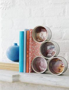 Marco de fotos con latas