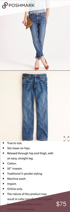 J. Crew Vintage Straight Boyfriend Jean J. Crew Vintage Straight Boyfriend Jean in Old Faithful Wash. Size 28 Regular, runs a little large, hence why I'm selling!  **Only Worn Once!!** LIKE NEW Condition! J. Crew Jeans Boyfriend