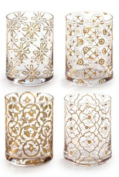 beautiful gold patterned glasses