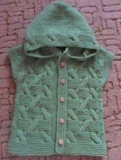 Knitted baby vest with skewers - Baby products Baby Boy Knitting Patterns, Baby Sweater Patterns, Cardigan Pattern, Jacket Pattern, Knitting For Kids, Knit Patterns, Baby Pullover Muster, Knitted Baby Cardigan, Knit Vest
