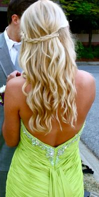 Love her hair and the dress is pretty too