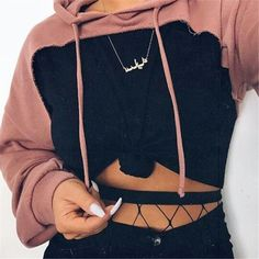 Drop-shoulder front cut out hoodies sweatshirt 2018 Women's fashion pink hoodie with hooded Punk rock pullovers female autumn Pink Fashion, Fashion Outfits, Womens Fashion, Fashion Tips, Fashion Trends, 90s Fashion, Feminine Fashion, Fashion Videos, Fashion Online