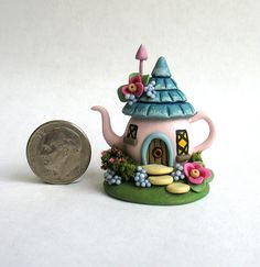 Miniature Whimsical Teapot House OOAK by C. by ArtisticSpirit     toy, sculpture, clay