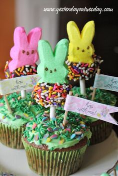 DIY FUN EASTER EDIBLE TREATS | 29. Peep Cupcake Push Pops {Easter Ideas} ~ What a fun and colorful ...