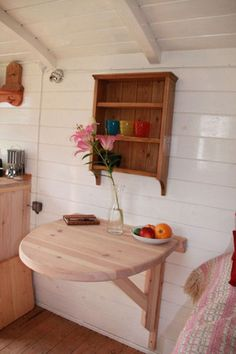 Lovely idea for if a freestanding drop-leaf table takes up too much room. Rv Living, Tiny Living, Home And Living, Living Spaces, Canal Boat Interior, Rv Interior, Narrowboat Interiors, Micro House, Boat Stuff