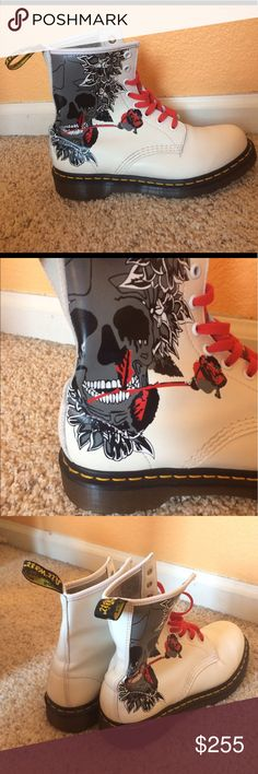 4c611635d43 RARE limited edition white rose skull Dr Martens Very rare and in perfect  condition! Beautiful