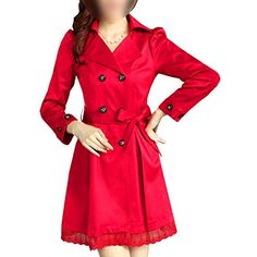 TOOGOO(R) Women Long Sleeve Slim Fit Trench Double Breasted Coat Jacket Outwear NEW - Red L