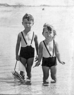 we're so happy to have this picture taken of us in our dunk tank bathing suits. Vintage Children Photos, Vintage Pictures, Vintage Images, Beach Photos, Old Photos, Photo Vintage, Vintage Swimsuits, Bathing Beauties, Vintage Photographs