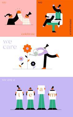 Teamwork illustrations on Behance People Illustration, Flat Illustration, Character Illustration, Graphic Design Illustration, Digital Illustration, Art Illustrations, Startup, Character Design Animation, Teamwork