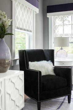 Window Treatments for Living / Family Room (Cornice w/ Roman Shades)