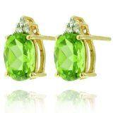 14k Peridot Gemstone and Diamond Earrings, Birthstone of August -
