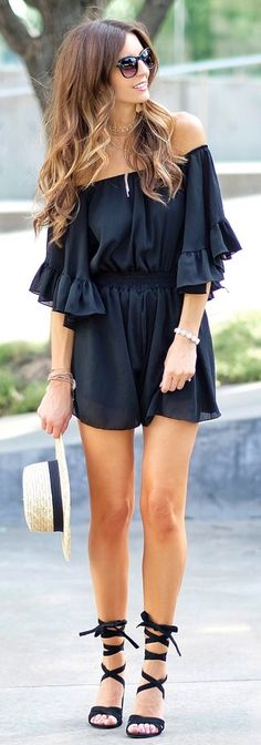 #Summer #Outfits / Off the Shoulder Black Playsuit + Black Gladiator Sandals