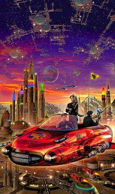 """creamurjeans: """"The Honor of The Queen by David Weber, 1956 ~ David Mattingly"""" Trippy, Science Fiction Kunst, Futurism Art, Classic Sci Fi, Retro Futuristic, Future City, The Future, Pulp Art, Sci Fi Fantasy"""