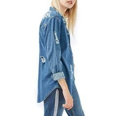 Women's Topshop Moto Elton Ripped Denim Shirt (3,410 PHP) ❤ liked on Polyvore featuring tops, mid denim, baggy tops, topshop tops, ripped tops, distressed top and distressed denim shirt