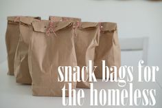 "I love this idea! When I see folks that need something and I don't have anything ""on me"" I always feel like I'm letting the Lord and them down. Love it!!!!!!!!!! Snack bags for the homeless"