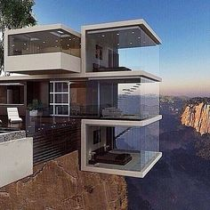 Breathtaking Cliff House Architecture Design and Concept - Page 74 of 82 Architecture Cool, Contemporary Architecture, Contemporary Houses, Landscape Architecture, Casas Containers, Cliff House, House Goals, Exterior Design, Luxury Homes