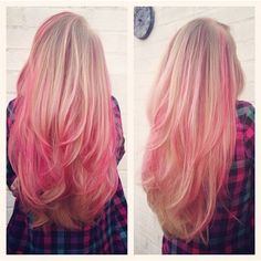 blonde hair with pink highlights. If it didn't look totally unprofessional... I would totally do it! :)