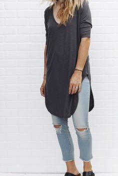 v neck t-shirt dress / grey from ascot hart.