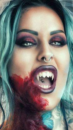 What a vampire Nose Bridge Piercing, Venom Piercing, Mouth Piercings, Vampire Kiss, Vampire Fangs, Female Vampire, Gothic Vampire, Vampire Art, Things To Draw