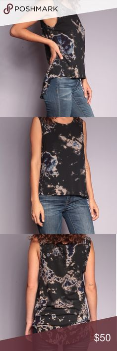 Pure Eco Rag Industry Organic Supima Cotton Top HiLo Tank - Dusty Black with a Blue shock of color.  Buttery soft, loose fitting tank with a high front hem and a low back hem.  50% Organic Supima Cotton, 50% Modal #4261735 PERI Tops