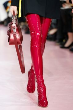 Christian Dior AW'15 over-the-knee boots #red #shoes #redshoes #style #fashion #mode #godsaveshoes