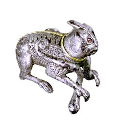 Silver figure showing an animal in struggle with serpents. Probably manufactured in Western Europe. Dated to 9th century AD. Viking  art