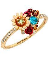 Betsey Johnson Gold-Tone Crystal and Flower Hinged Bangle Bracelet