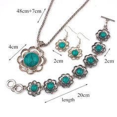 Natural Turquoise Necklace&Bracelet&Earrings