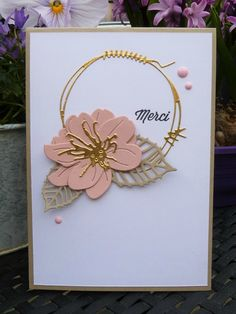 handmade thank you card ... die cuts ... gorgeous flower .. clean and simple layout ... luv it!