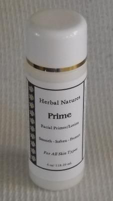 Prime – Mineral make-up primer/skin moisturizer in lotion form. Botanical extracts of Pumpkin Seed and Sweet Almond are major contributors in the formulation of this primer/lotion. Coconut milk and Aloe Vera juice, along with several Vitamins, Squalane, Silk, and Honey work together to smooth and soften your precious facial skin. The smooth, even texture of your skin will give you an almost seamless foundation application and longer wear.  (4 oz) http://www.herbalnatures.com