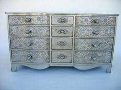 Decopodged wall paper on drawers