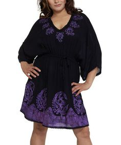 Look what I found on #zulily! Purple Paisley V-Neck Dress - Women by India Boutique #zulilyfinds