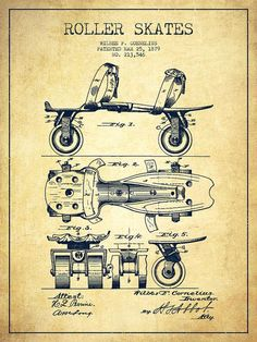 Roller Skates Drawing - Roller Skate Patent Drawing From 1879 - Vintage by Aged Pixel Camera Drawing, Foto Transfer, Patent Drawing, Vintage Drawing, 3d Models, Roller Skating, Roller Derby, Illustration, Patent Prints