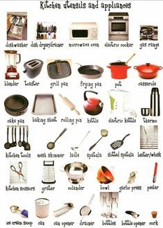 In the Kitchen Vocabulary: Kitchen Utensils & Cooking Verbs - ESLBuzz Learning English There is no doubt, Kitchen is the Heart of the Home. English Resources, English Tips, English Lessons, English Writing, English Study, English Class, Grammar And Vocabulary, English Vocabulary, English Grammar