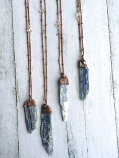 Kyanite necklace Raw kyanite jewelry Kyanite by HAWKHOUSE