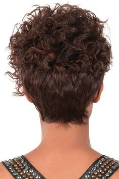 [ Hair Care Ideas : Go Girl Curly Wig, Unbalanced/Asymmetrical on one side, top to bottom 9 inches. Short and tapered, curlable wig. Heat resistant up Curly Hair Tips, Short Curly Hair, Wavy Hair, Short Hair Cuts, Curly Hair Styles, Natural Hair Styles, Thin Hair, Permed Hairstyles, Short Hairstyles For Women